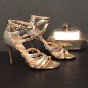 New Guess Beatrix Glitter Strappy Heels